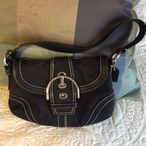 Coach Black Canvass and Leather Handbag.